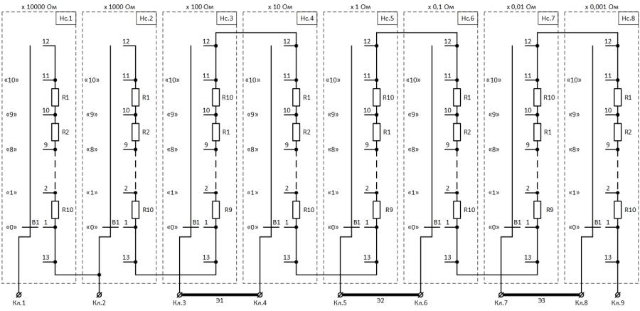 Рисунок 1. Принципиальная электрическая схема магазина сопротивления Р4831 до 1997 года выпуска (год предположительный).