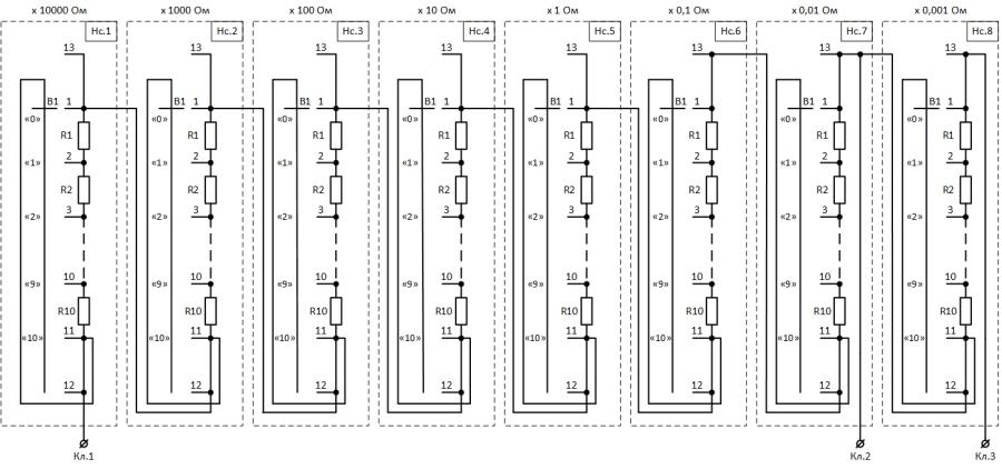 Рисунок 2. Принципиальная электрическая схема магазина сопротивления Р4831 после 1997 года выпуска (год предположительный).