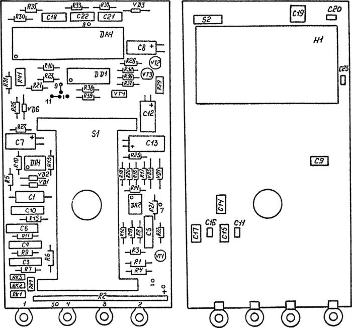 Рисунок 3. Схема расположения элементов на печатной плате мультиметра радиолюбителя МР-12