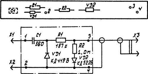 Рисунок 5. Схема электрическая принципиальная и схема расположения элементов высокочастотного пробника мультиметра радиолюбителя МР-12
