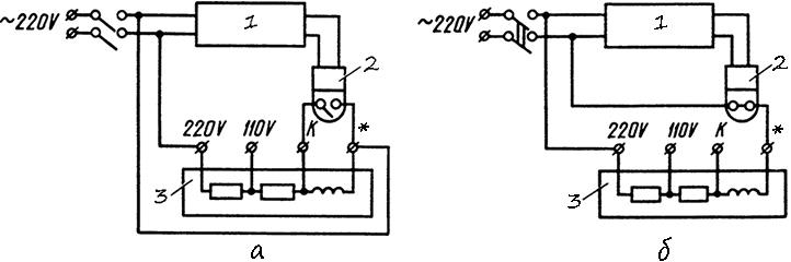 Рисунок 6. Схемы подключения электрических секундомеров ПВ-53Л и ПВ-53Щ при питание испытуемого реле и секундомера от одного источника напряжения. Реле срабатывают при подаче напряжения на катушки