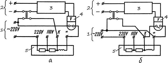 Рисунок 8. Схемы подключения электрических секундомеров ПВ-53Л и ПВ-53Щ при питание испытуемого реле и секундомера от разных источников напряжения. Реле срабатывают после снятия напряжения с катушек