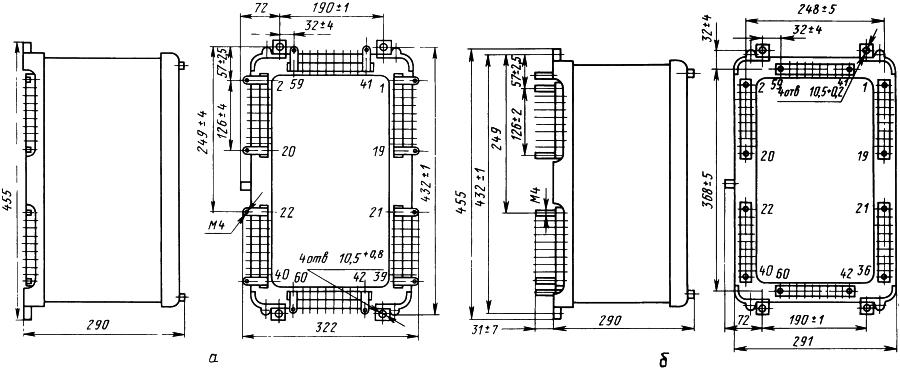 Рисунок 1. Габаритные, установочные и присоединительные размеры устройства пуска осциллографов типа УПО-1