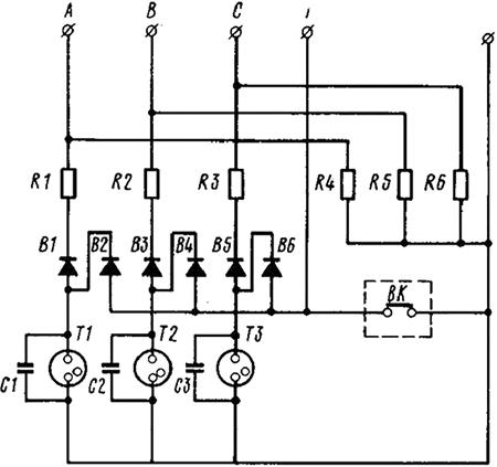 Рисунок 1. Электрическая схема устройства предохранительного светосигнального УПС-2
