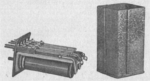Рисунок 2. Двойное реле пружинного типа фирмы Эрикссон (Ericsson) с общим основанием и общим железным чехлом.