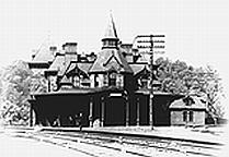 Рис. 1.1. Железнодорожная станция<Отель Виадука> и городская ратуша города Реле.