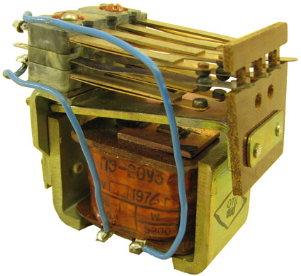 Промежуточное реле переменного тока типа ПЭ-20  1976 г.в. производства НПО Реле и автоматика, Киев, Украина