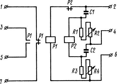 Рисунок 2. Принципиальная электрическая схема реле Е-511 исполнения на 100 В.