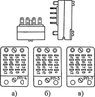 Рисунок 2. Общий вид соединительных колодок типа СК для поляризованных реле типа РП (вид со стороны установки реле в колодку)