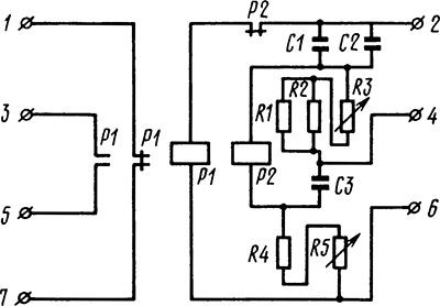 Рисунок 3. Принципиальная электрическая схема реле Е-511 исполнения на 220 В.