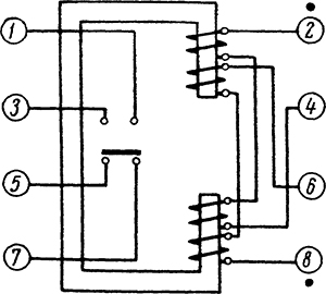Рисунок 3. Схема внутренних соединений и расположение выводов реле контроля синхронизма ЭН-535