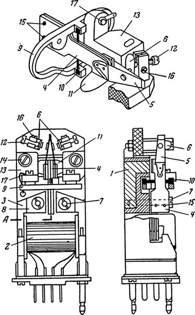 Рисунок 3. Конструкция поляризованного реле типа РП