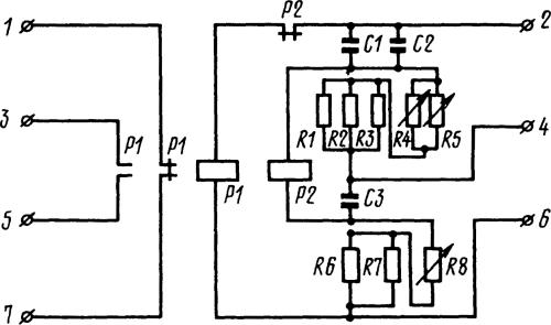 Рисунок 4. Принципиальная электрическая схема реле Е-511 исполнения на 380 В.