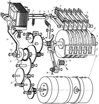 Кинематическая схема реле времени Е-512