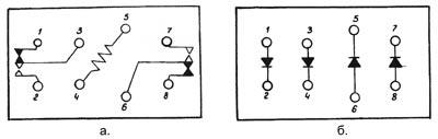 Рисунок 1. а. Схема реле типа РВМ; б. Схема блока диодов
