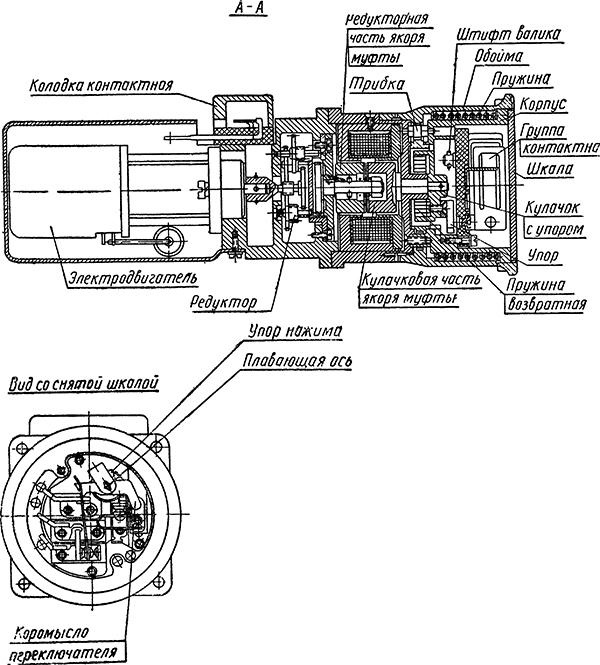 Основные части электромашинного реле времени ЭМРВ-27Б-1