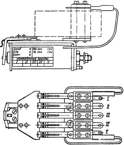 Общий вид реле КДР-1 на пять контактных колонок