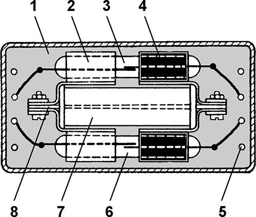 Рисунок 1. Конструкция герконового реле с магнитной блокировкой РГМБ 2/2