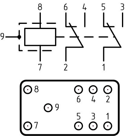 Схема и расположение выводов реле РВ-5А