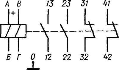 Рисунок 2. Электрическая схема герконового реле с магнитной блокировкой РГМБ 2/2