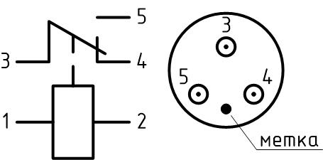Принципиальная электрическая схема и расположение выводов реле РВ-2А