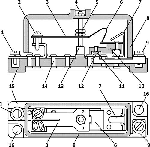 Рисунок 1. Конструкция биметаллического теплового реле АПЛ.