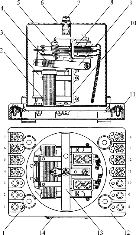 Рисунок 1. Конструкция реле типа РА-2п