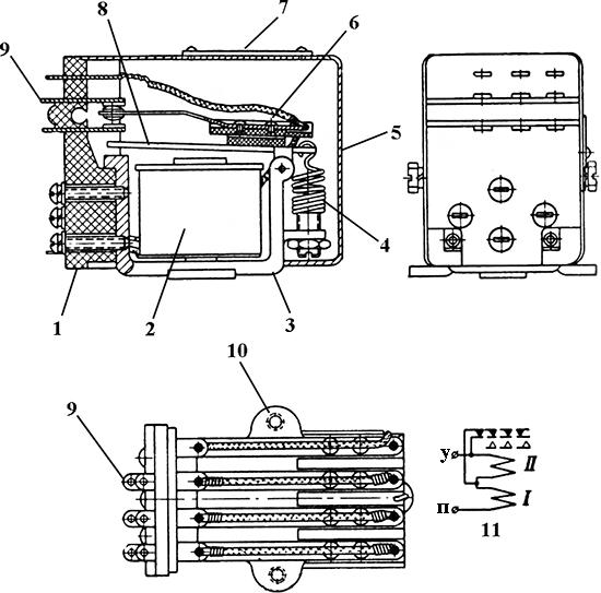 Рисунок 1. Общий вид и электрическая схема реле РП-3