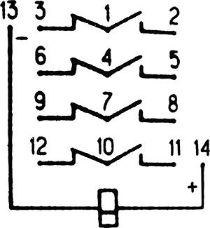 Электрическая схема поляризованного реле ТРЛ210-1