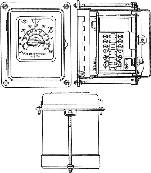 Рисунок 1. Общий  вид тиратронного реле времени ВЛ-1 (утопленное исполнение)