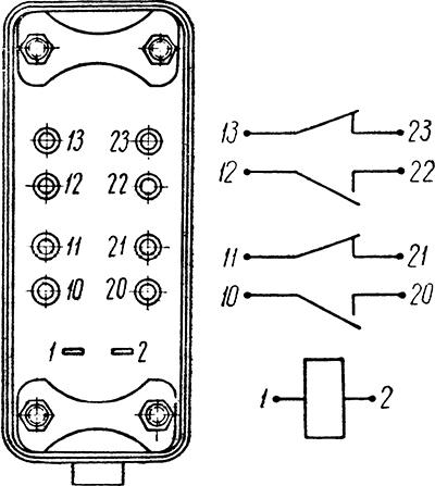 Рисунок 2. Расположение выводов и электрическая схема изделия (реле) 1113