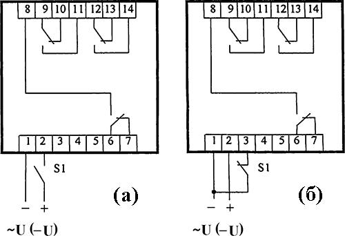 Рисунок 2. Схемы подключения электронного реле времени РВ-130
