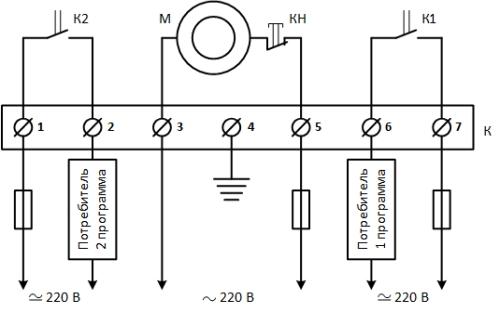 Рисунок 4. Схема внутренних и внешних соединений реле времени типа 2РВМ