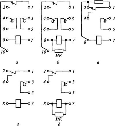 Рисунок 5. Электрические схемы реле времени серии ЭВ-100