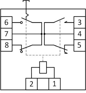 Рисунок 1. Расположение выводов и электрическая схема сигнального реле RA-3