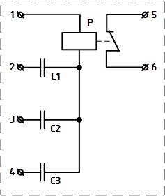 Рисунок 1. Электрическая схема асимметра РА-74/2 производства 1965-1968 годов. Нумерация выводов условная, вид на реле сзади