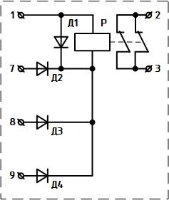 Рисунок 2. Электрическая схема асимметра РА-74/2 1980-1985 годов выпуска. Нумерация выводов соответствует нумерации на цоколе