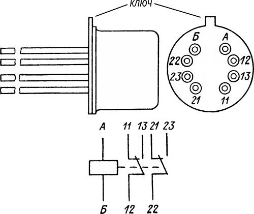Рисунок 2. Электрическая схема и расположение выводов (вид снизу) электромагнитного реле РЭК-11