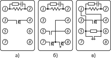 Рисунок 3. Электрические схемы разных модификаций реле времени ЭВ-180.