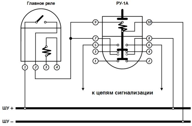 Рисунок 3. Схема включения указательного реле РУ-1А