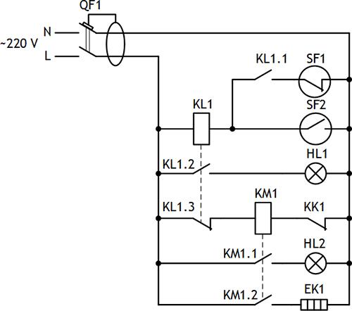 Рисунок 3. Принципиальная электрическая схема водонагревателя с контролем низкого уровня и поддержанием заданной температуры воды