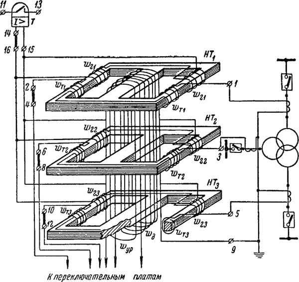 Рисунок 1. Упрощенная схема дифференциальной защиты трехобмоточного трансформатора с реле типа ДЗТ-3