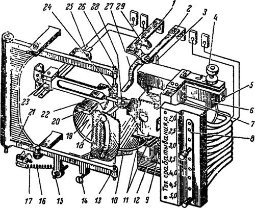Рисунок 1. Кинематическая схема реле РТ-84