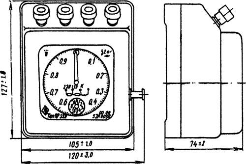 Рисунок 1. Габариты секундомера типа ПВ-53Л