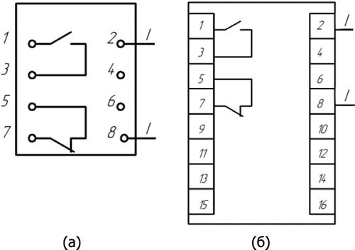 Рисунок 2. Схема электрическая подключения реле (вид спереди)