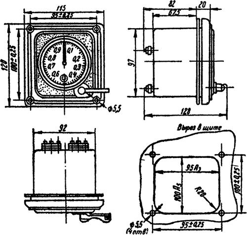 Рисунок 2. Габариты секундомера типа ПВ-53Щ и разметка щита