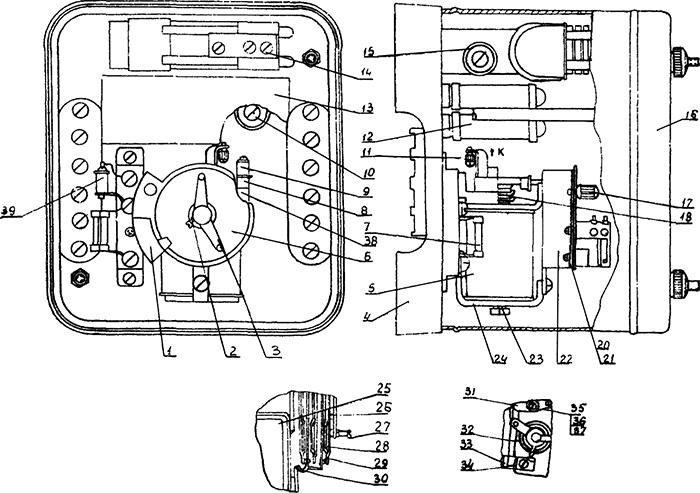 Рисунок 2. Конструкция реле повторного включения типов РПВ-58 и РПВ-358