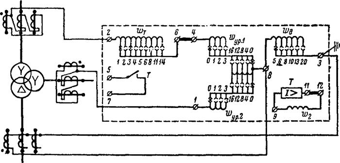 Рисунок 3. Схема электрических соединений реле типа ДЗТ-1 и схема его включения