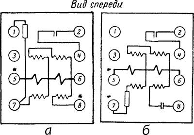 Рисунок 3. Схемы внутренних соединений реле направления мощности ИМБ