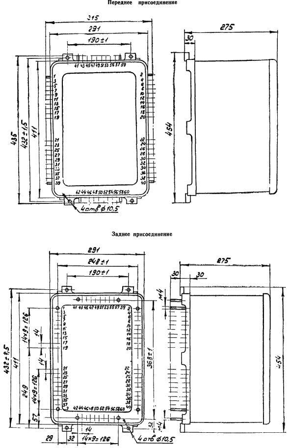 Рисунок 3. Габаритные и установочные размеры комплектов защиты типов КЗ-37 У4, КЗ-38 У4, КЗ-14 У4, КЗ-15 У4